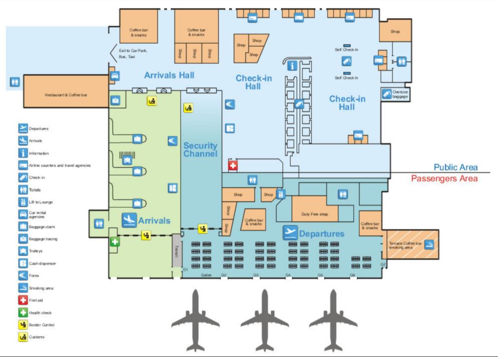 Mapa lotniska w Tiranie