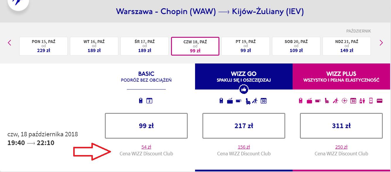 88886fae1bf03 Przykład: cena standardowa oraz cena ze zniżką Wizzair do Kijowa oraz do  Aten